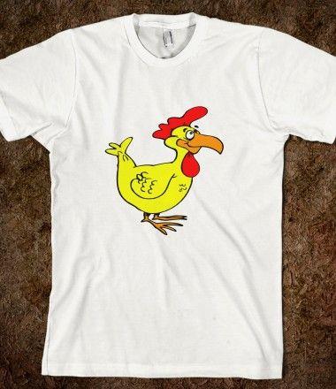 Goofy cartoon chicken