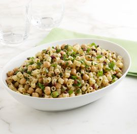 Ditalini with Chickpeas, Scallions, and Olives: Briny olives, zippy scallions and a slew of fresh summer herbs give this pasta salad bright flavor, while chickpeas make it a bit heartier than your usual side dish.  Via FineCooking