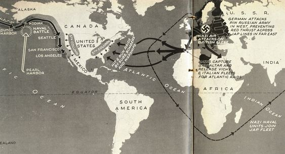 In the March 2, 1942 issue, Life magazine distilled national anxiety into six maps, each portraying a different scenario for Axis invasion.