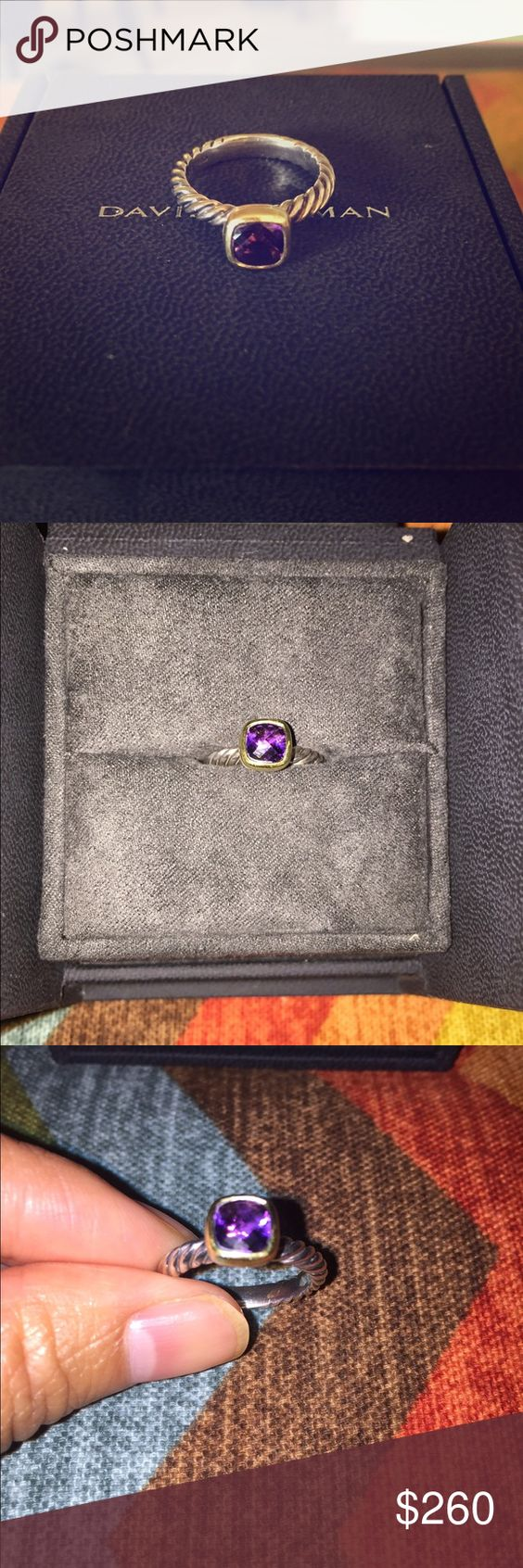 David Yurman Classic Cable Amethyst Ring, Size 7 Sterling silver and 18-karat gold  Faceted amethyst, 6 x 6mm  Other than a few scratches at the back, it is in great condition. Will come in box with never been opened pouch & cloth polish. David Yurman Jewelry Rings