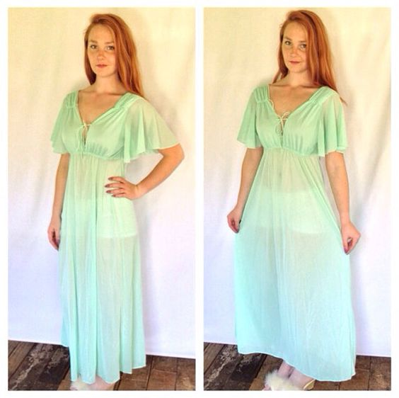 60s SHEER Mint Green Nightgown Os Womens by TigerStyleVintage, $17.00
