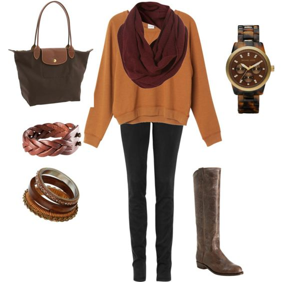 The merlot colored scarf and caramel sweatshirt...would never have done this but like the effect.