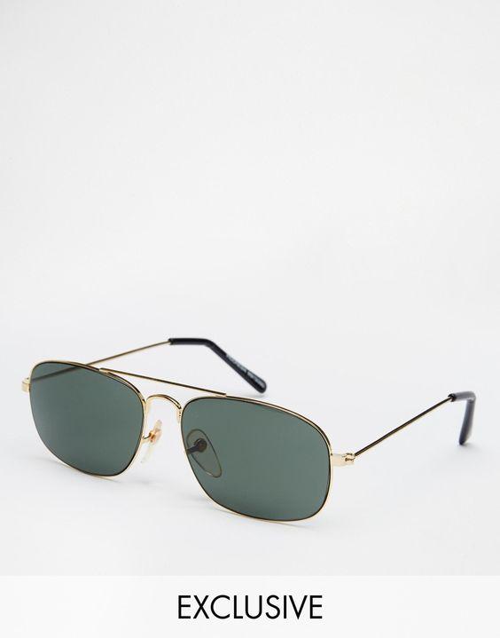Sonnenbrille von Reclaimed Vintage Metallgestell verstellbare Nasenpolster aus Silikon für besonderen Komfort dunkel getönte Gläser schmale Bügel mit abgerundeten Enden für einen sicheren Sitz Maße der Gläser: 50 mm/2 Zoll voller UV-Schutz exklusiv bei ASOS