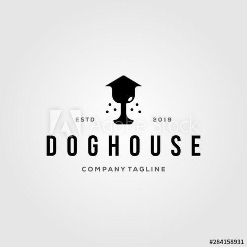 Dog Nose House Pet Home Logo Vintage Illustration Design Vector Face Animal Art Background Bone Bowl Breed Brown Building Canine Care Carto In 2020