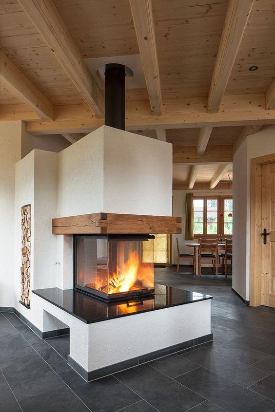 Panorama Kamin Brunner 57 40 60 40 fertig Aufgebaut Ofen - moderne wohnzimmer mit kachelofen