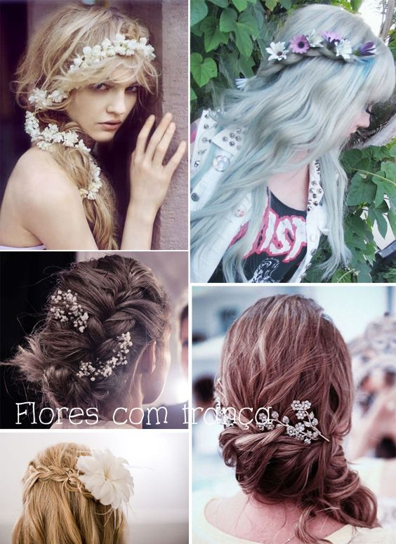 Penteados românticos com flores.