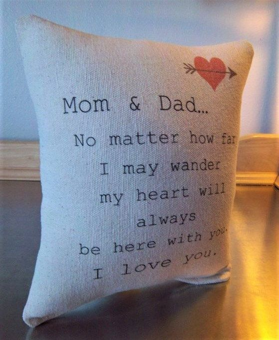 Parents Gift Quote Throw Pillow Mom And Dad Cushion Mother Etsy Mom And Dad Quotes Valentine Gift For Dad Dad Valentine