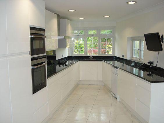 Kitchen Tiles Black Worktop white gloss kitchen with black worktops - google search | house