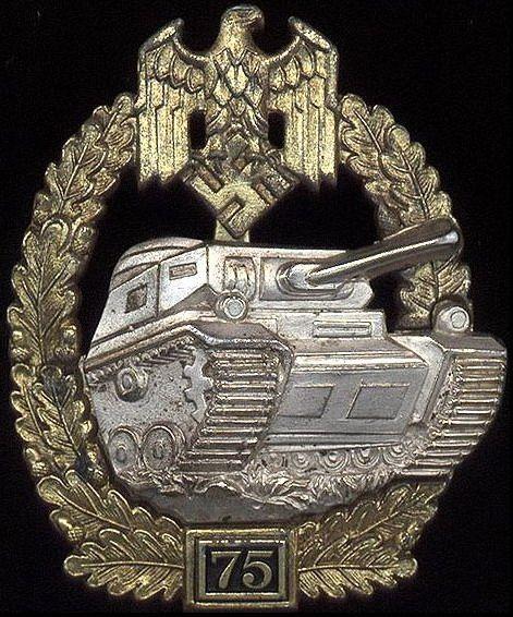 Panzerkampfabzeichen 75 (Panzer Assault Badge).: