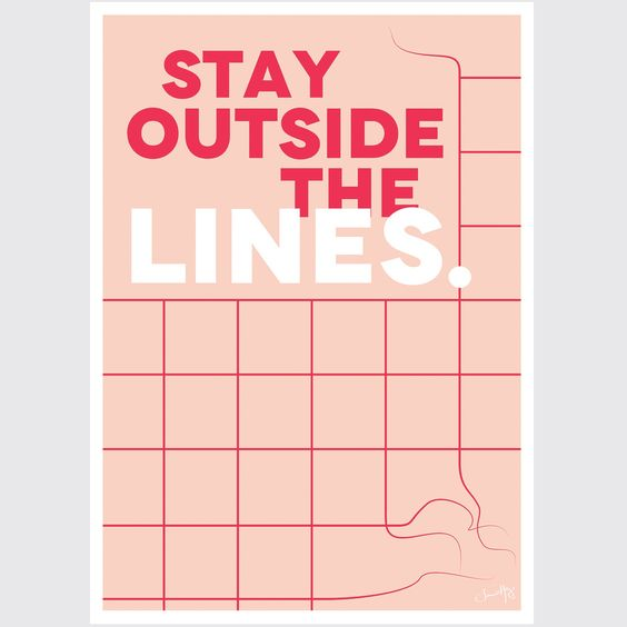 It's more fun to not follow the lines. This is such a versatile print that will look great in a playroom, kid's bedroom or in a easy going family space. Wall art printed on a 200gsm satin artstock. 50x70 cm. Frame is not included. Poster fits in IKEA Ribba frames. Contact us for custom sizes.