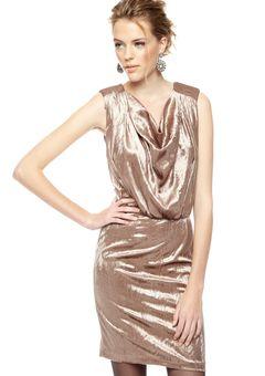 2B. RYCH Mink Crushed Velvet Cowl Drape Dress