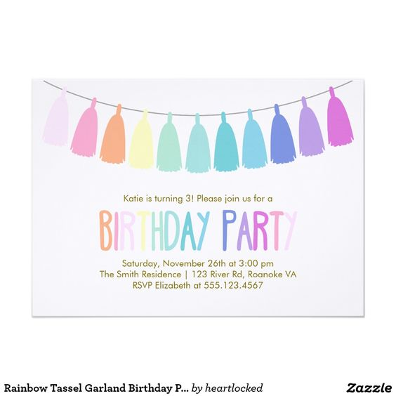 Rainbow Tassel Garland Birthday Party 5x7 Paper Invitation Card