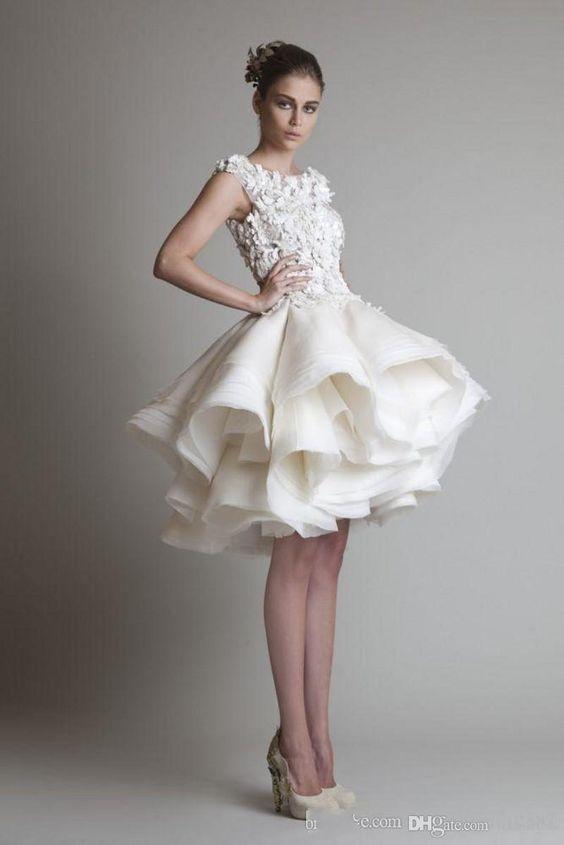 2019 New Bateau Sleeveless A-Line Mini Beach Wedding Bridal Dresses Krikor Jabotian Organza Ruffles Short Wedding Dress 2018