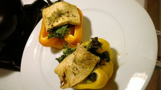 this is a healthy, filling and delicious stuffed peppers. It has kale, apples, onions, carribean tofu on top.
