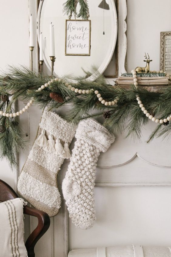 Decorate your house for Christmas with this delightful stocking. Cozy style design with a cable knit pattern on the stocking. These are the perfect Knitted Christmas Stockings DIY Rustic.