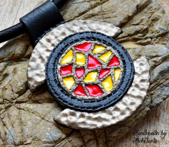 Polymer clay pendant Mosaic pendant Polymer clay jewelry Jewelry for women Handmade necklace Chocker Red and yellow pendant Stylish pendant