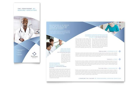 Nursing School Hospital Tri Fold Brochure Template Design By