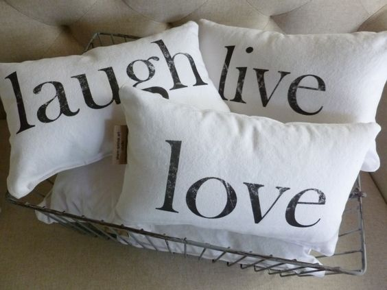 Home and Living Decor and Housewares Decorative Pillows Love Live Laugh Words to Live By Set of ...