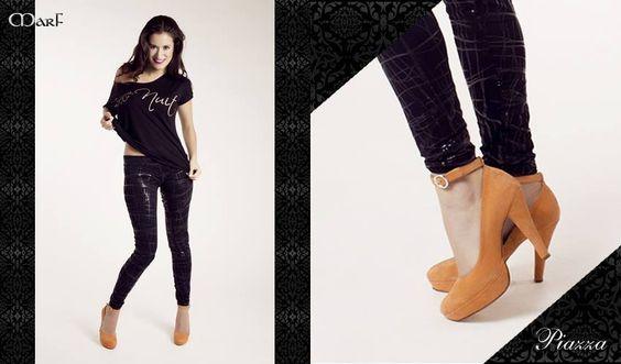 Zapatos MARF : MODELO PIAZZA   Cabritilla negra, roja, naranja y animal print con negro