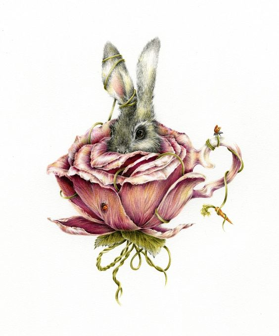 inspired by garden tea parties.. by Courtney Brims.. This would make a super cute tattoo... although to make it fit into my sleeve I would like to put a hat on the bunny and hang a pocket watch out of the rose and have a ribbon wrapping around the whole thing with a quote from Alice and Wonderland :)