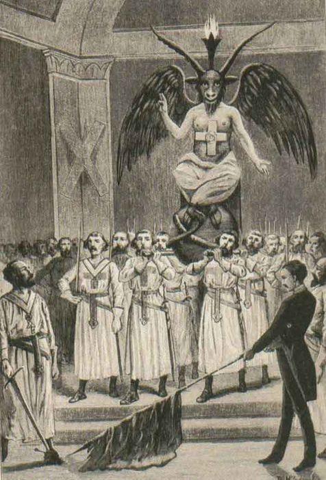Freimaurer beten Baphomet an. Illustration aus einer Schmäh-Veröffentlichung Leo Taxils