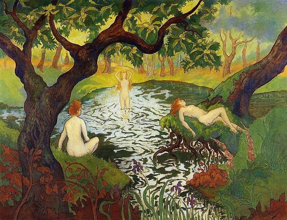 This Paul Ranson Three Bathers with Irises painting is oil on canvas. Description from ipaintingsforsale.com. I searched for this on bing.com/images
