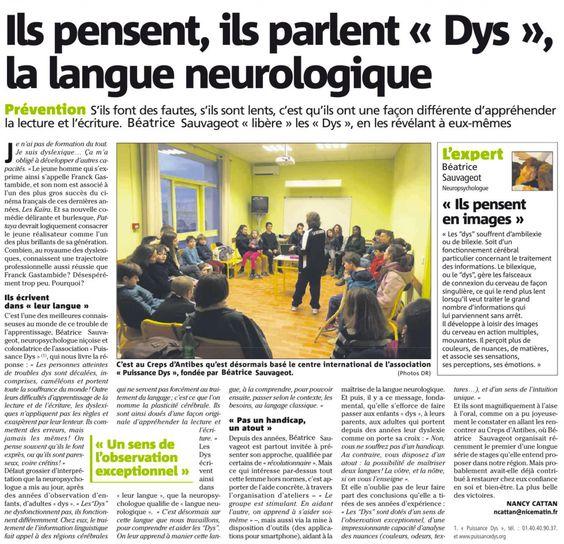 Article de Nice Matin présentant le travail et les découvertes de Béatrice Sauvageot sur la dyslexie.