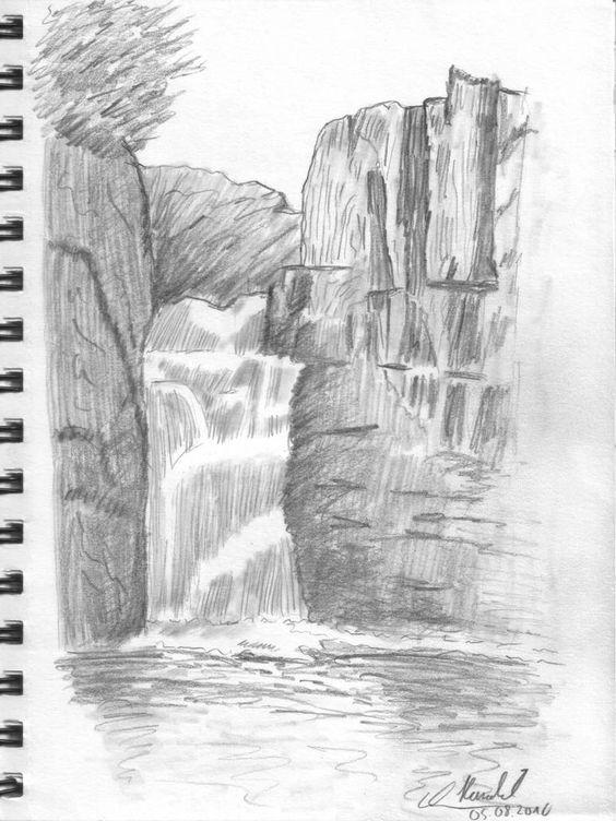 Sketsa Pemandangan Air Terjun Pensil Arsiran