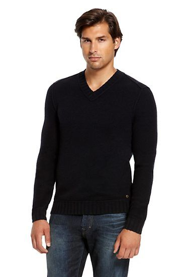 Virgin Wool V-Neck 'Kamil' Sweater, Dark Blue