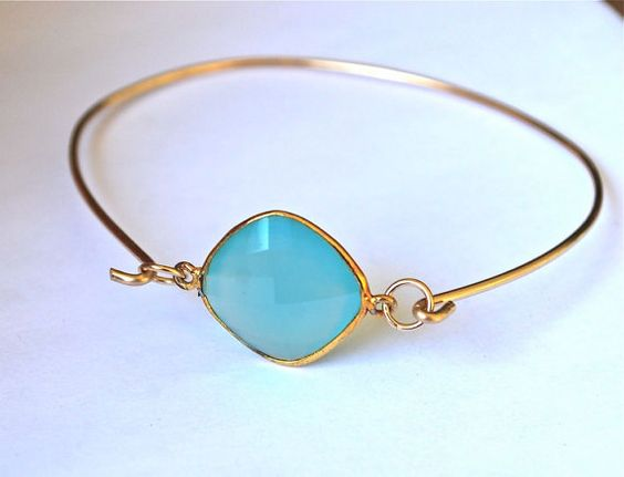 Aqua Blue Chalcedony 14k Gold Tension Bracelet   by JLaurynDesign, $38.99