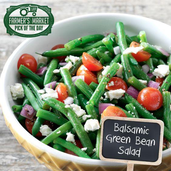 Balsamic Green Bean Salad  Ingredients: Green Beans, Tomato, Pepper, Onion, Feta Cheese, Balsamic dressing