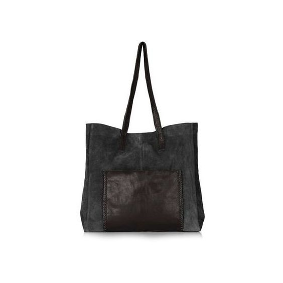 TopShop Leather Whipstitch Shopper (£40) ❤ liked on Polyvore featuring bags, handbags, tote bags, black, genuine leather handbags, polka dot purse, genuine leather tote bag, leather tote and leather tote bags