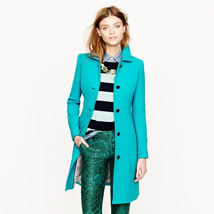 J Crew...turquoise..wool day coat...loving the colors