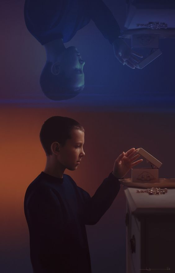 Pretty, drawn in PS. [Caption: A realistic digital painting of Eleven from Stranger Things. Portrait is in profile from the waist up. Eleven is wearing a dark blue sweatshirt. Her head is shaved, and she's standing at a girl's dresser, opening a...