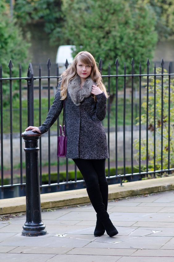lorna burford model The Grey Faux Fur Collar Coat | websites
