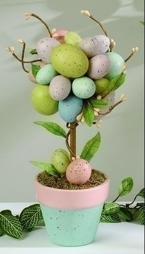 Shop for Potted Easter Egg Tree  by Roman.  Decorate your home this Easter with this light hearted potted Easter Egg tree.  Features pastel shades of pink, green, blue and lavender.