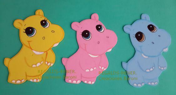 Selva: hipopotamos en goma eva. Foami animals   Wall Birthday
