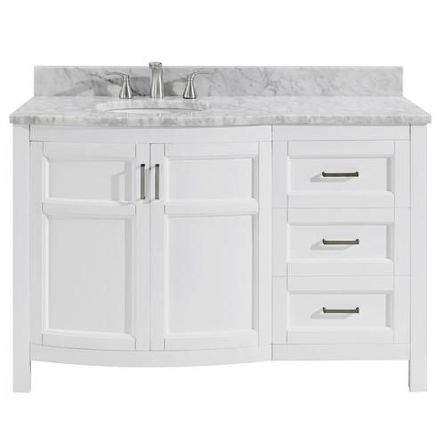Allen Roth Moravia 48 In White Undermount Single Sink Bathroom Vanity With Natural Carrara Marble Top Lowes Com Single Sink Bathroom Vanity Bathroom Sink Vanity 48 Inch Bathroom Vanity
