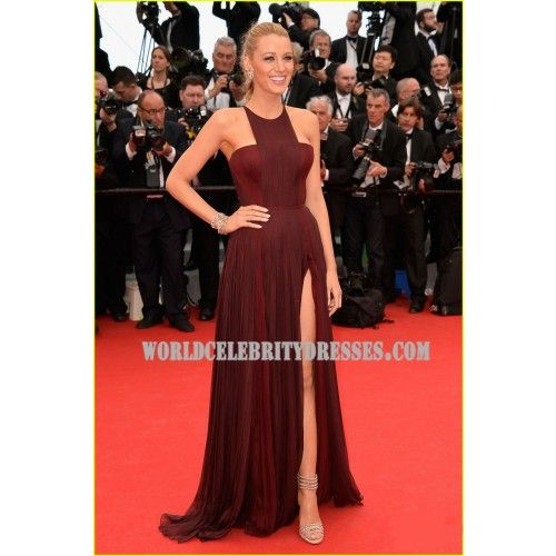 Blake Lively Pretty Chiffon Dress Celebrity Dresses Cannes Opening Premiere 2014