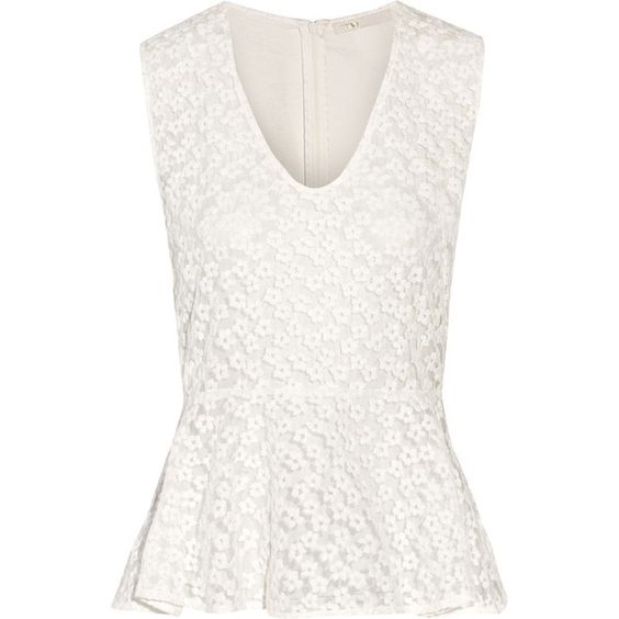 Maje Faubert embroidered mesh and cotton peplum top (420 BRL) ❤ liked on Polyvore featuring tops, ivory, white embroidered top, embroidered mesh top, peplum tops, loose fit tops and loose fitted tops