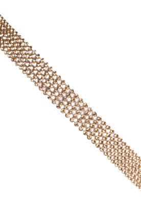 Tiara NightStar Strass dourada, confeccionada em material têxtil com elastano e aplicação de strass. Possui 50cm de diâmetro. A Tiara NightStar Strass é perfeita para compor looks modernos.