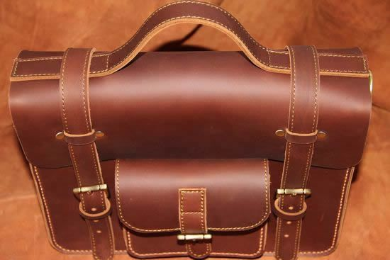 "Vintage Handmade Leather Briefcase / Satchel / 11"" MacBook Bag in Brown"