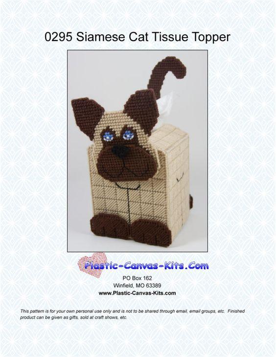 Siamese Cat Tissue Topper 3-D- Plastic Canvas Pattern-PDF Download