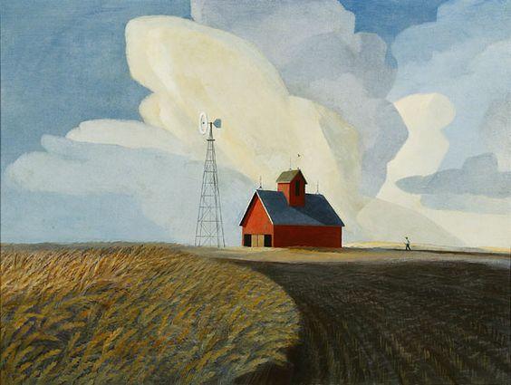Beautifully iconic prairie painting by Nebraska Native Dale Nichols, titled Platte Valley Summer