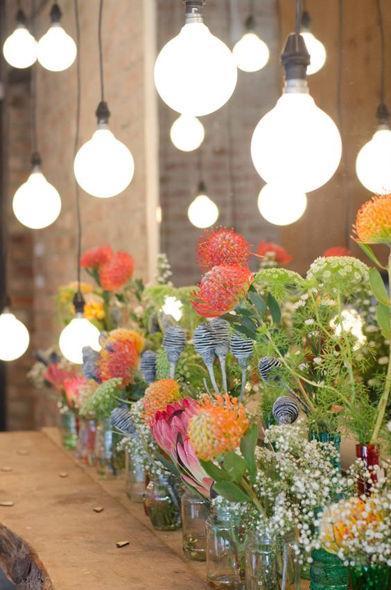 Café lights & colourful blooms | SouthBound Bride | http://www.southboundbride.com/handmade-recyclable-wedding-at-rockhaven-by-nicole-rich-melissa-jurgen | Credit: Nicole Rich: