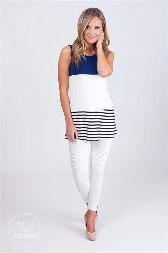 Colorblocking, stripes, and a button back, this tank has everything plus more!