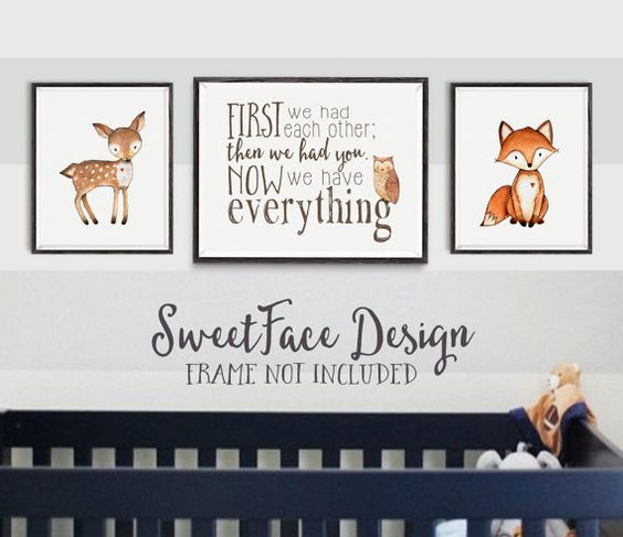 First We Had Each Other; Then We Had You. Now We Have Everything print set/ woodland animals nursery wall art/ nursery decor/ baby boy art  by SweetFaceDesign