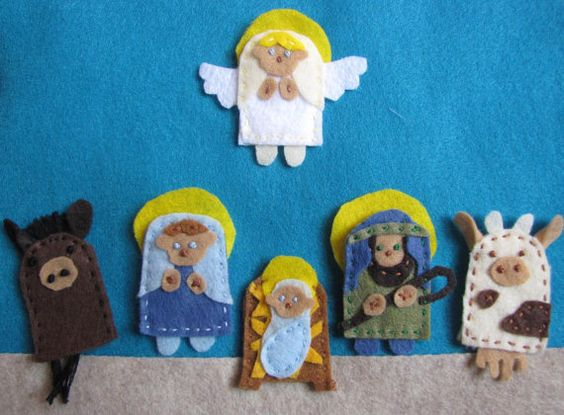 Finger puppets:  nativity finger puppets in Etsy:  Square Gardens