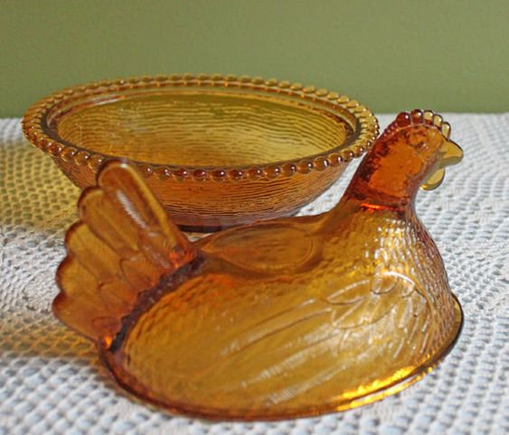Fenton Glass Butter or Serving Dish with by AnythingDiscovered