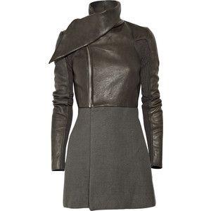 Rick Owens Sparta Leather And Angora-Blend Jacket